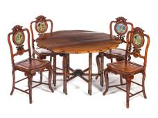 5 Pc Signed Chinese Mirrored Geisha Table & Chairs