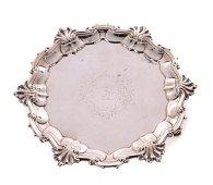 C.1748 London Sterling Silver Salver Hugh Mills