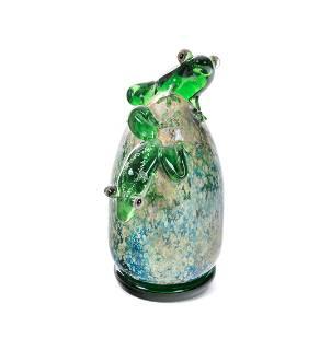 John Nygren Art Glass Frogs Paperweight