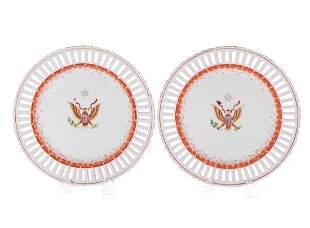 Pair Royal Vienna 1800's American Eagle Plates