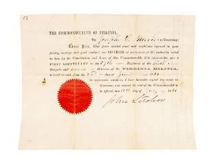 Civil War Confederate 1861 signed Gov. Letcher