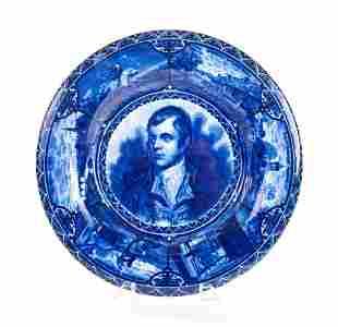 Historical Flow Blue Plate Robert Burns