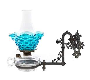 Antique Cast Iron Wall Sconce with Font and Blue