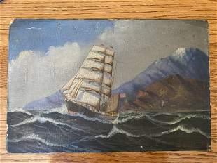 Wearly Americana Folk Art Painting Sailing Ship Oil