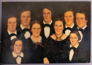 Early Folk Art Oil Painting Family Portrait