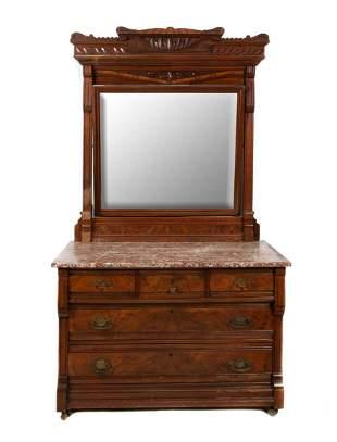 Highly Carved Eastlake Victorian Marble Top Dresser