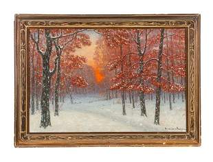 Oil on Canvas Winter Landscape Gulbrand Sether