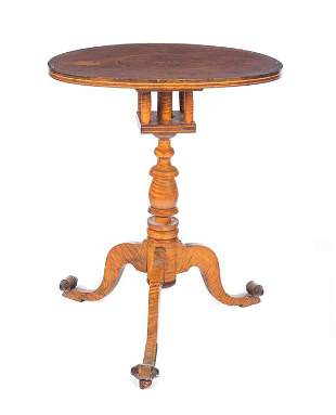 Inlaid Tiger Maple Bird Cage Tilt Top Table