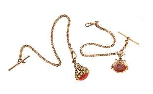 2 Gold Filled Pocket Watch Chains w/ Fobs
