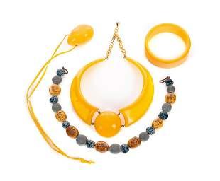 3 Bakelite Necklaces Bracelet & Pottery Necklace
