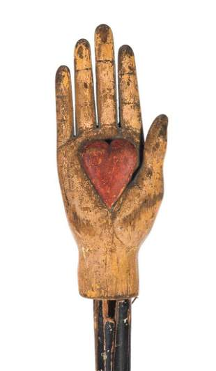 IOOF Odd Fellows Folk Art Carved Painted Heart In Hand