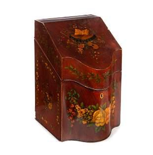 1800's Paint Decorated Liquor Box Etched Bottles