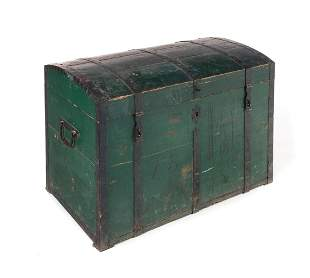 1868 Iron Strap Trunk in Original Paint