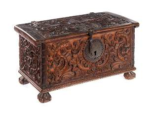 Carved Double Eagle Chippendale Document Box