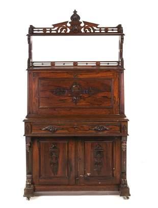 1800's Rosewood Victorian Secretary Desk