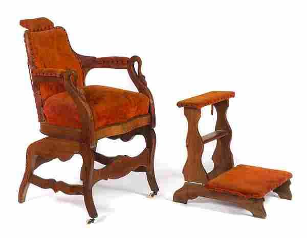 Walnut Victorian Figural Barber Chair