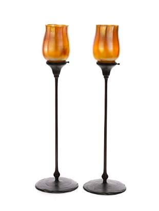 Pair Tiffany Studios Gold Favrile Bronze Candlesticks