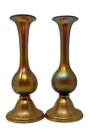 Pair Steuben Gold Aurene Vases W/ Silvercrest Bases