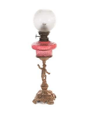 Miniature Victorian Cranberry Cupid Banquet Lamp
