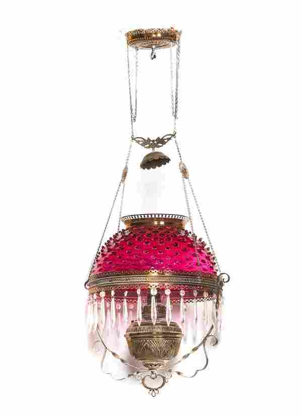 Victorian Hanging Lamp With Cranberry Hobnail Shade