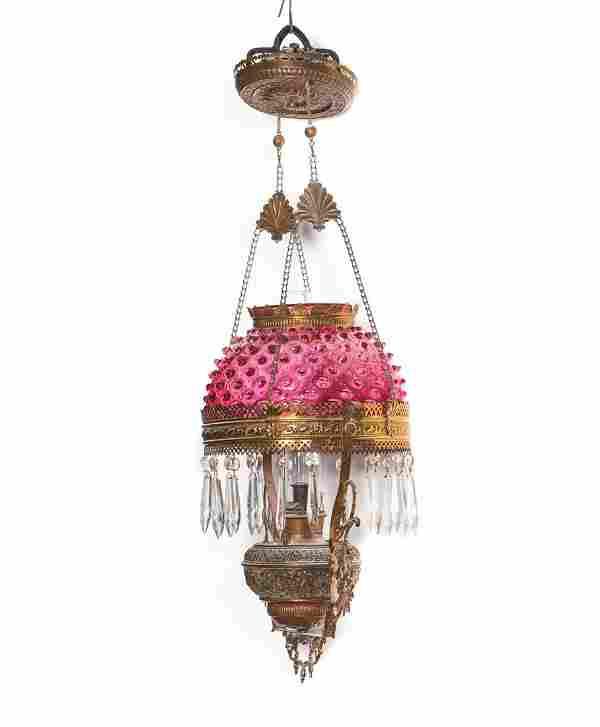 Rare Victorian Half Size Cranberry Hobnail Lamp
