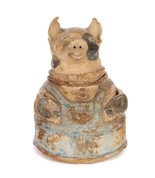 Folk Art Anna Pottery Type Pig Bank