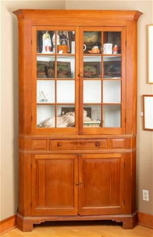 Early Walnut Kentucky Corner Cupboard