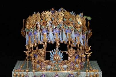 Chinese Silver Enamel Crown