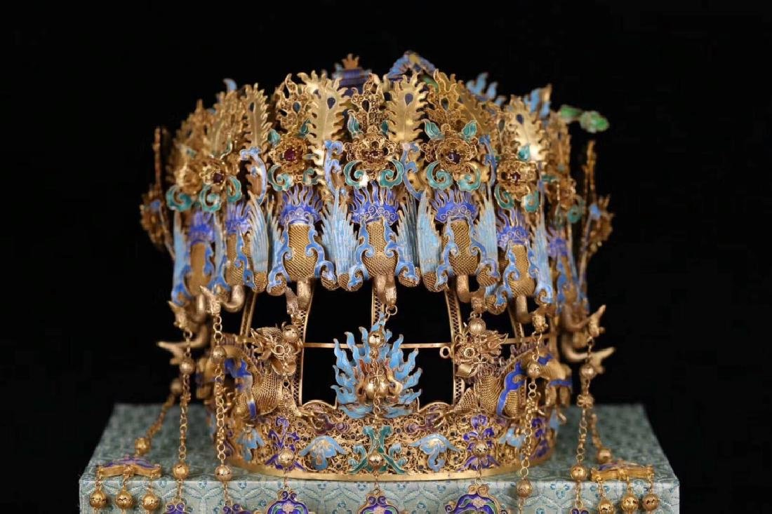 Chinese Silver Enamel Crown