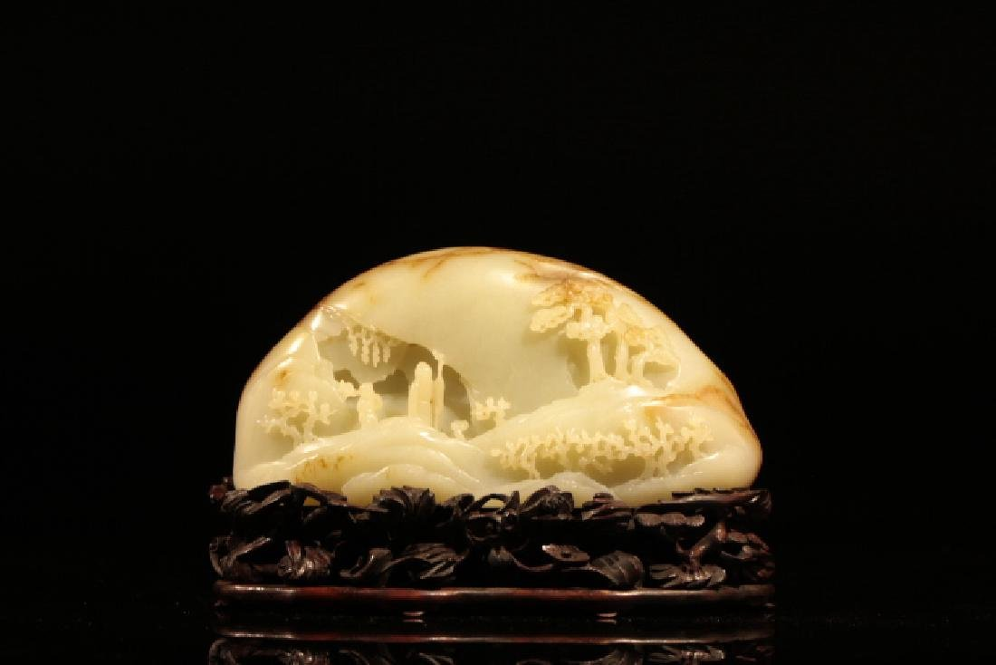 Chinese White Jade Carved Mountain w Stand