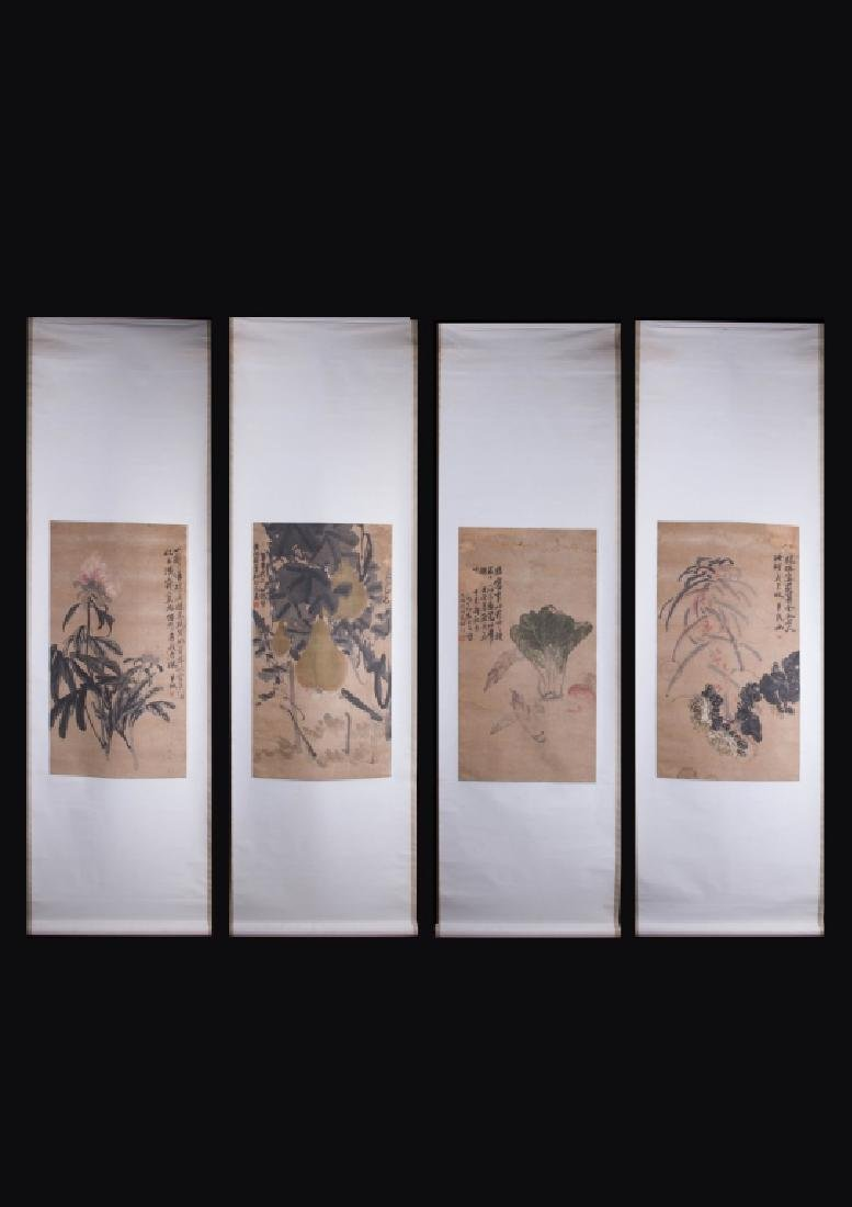 Set of Chinese Ink/Color Scroll Paintings