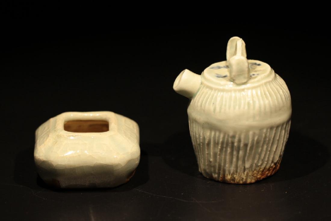 Two Chinese Celadon Cover Water Drops