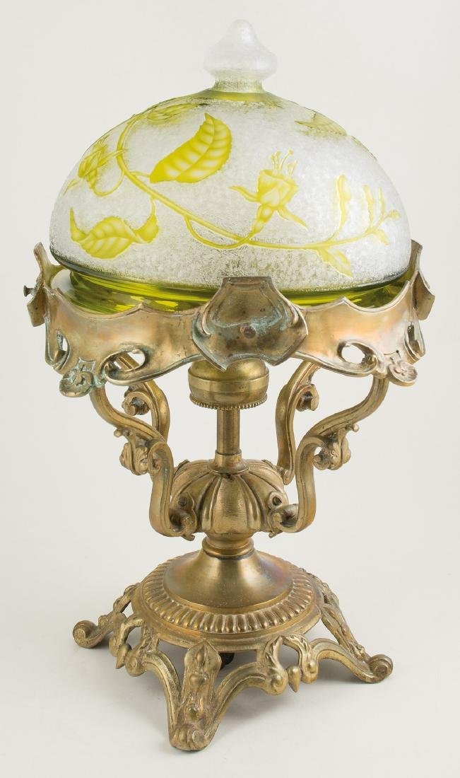 Bronze lamp with acid-etched glass lampshade. France. Art Nouveau. Circa 1900.