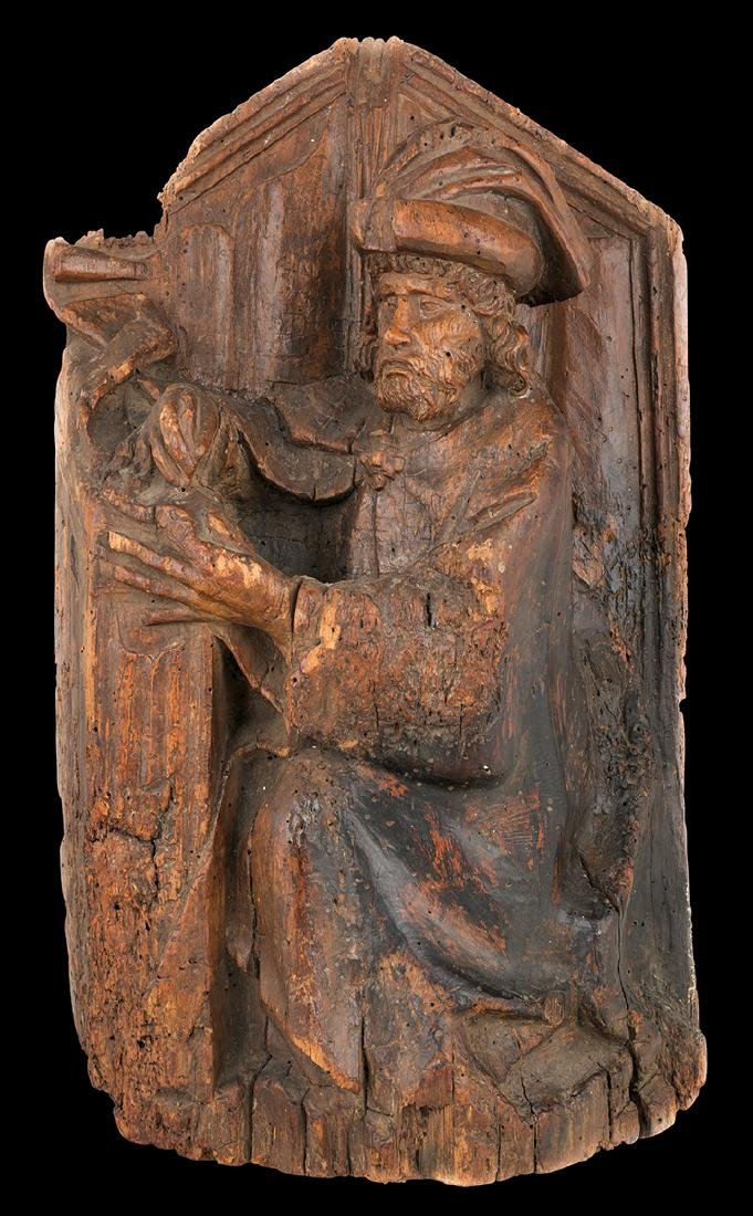 """""""Evangelist or Doctor of the Church"""" Carved wooden"""