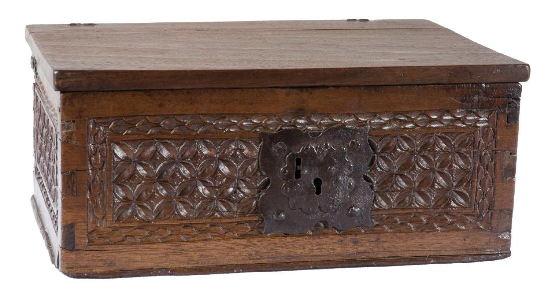Carved wooden and wrought iron chest.  Renaissance.