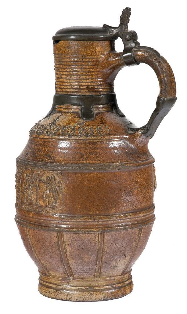 Ceramic and tin tankard. Raeren. Germany. Dated 1595.