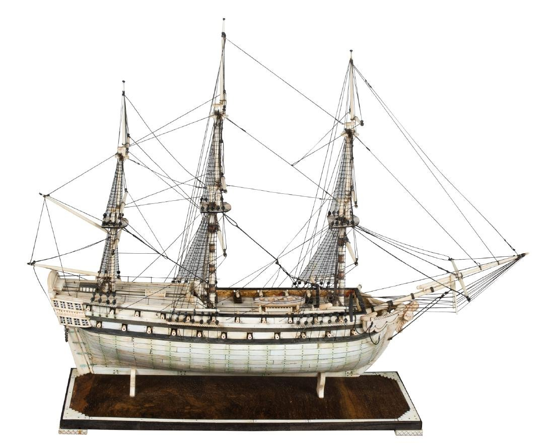 Exceptional model with three bone masts on a wooden