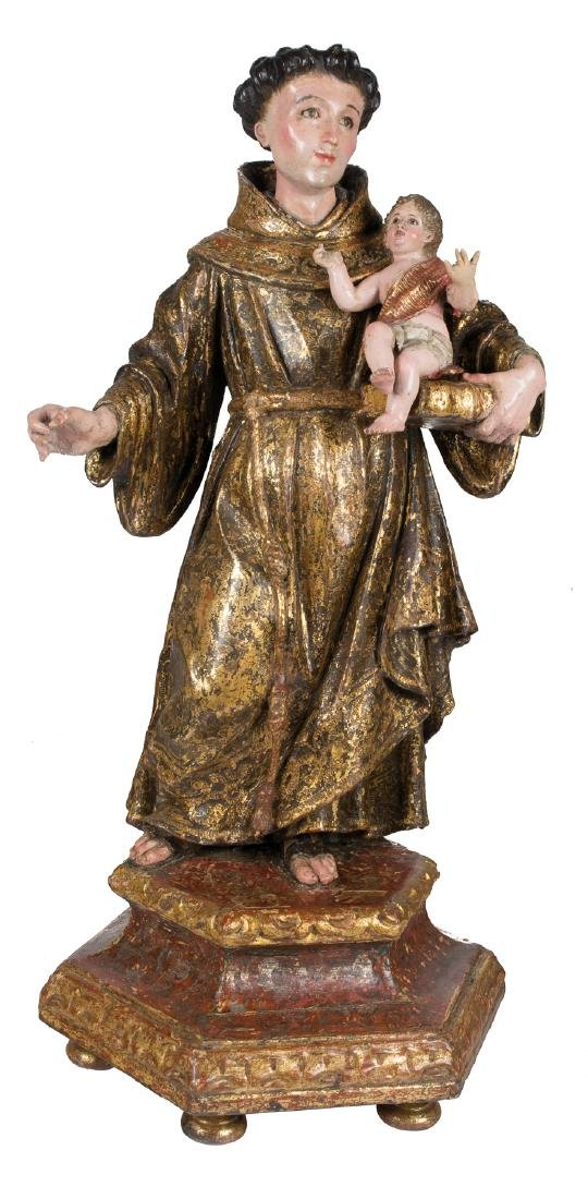 """""""Saint Anthony of Padua"""" Carved, gilded, stewed and"""