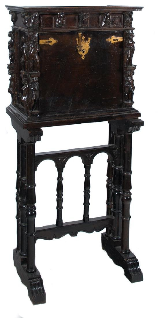Small wooden bureau cabinet with gilded wrought iron