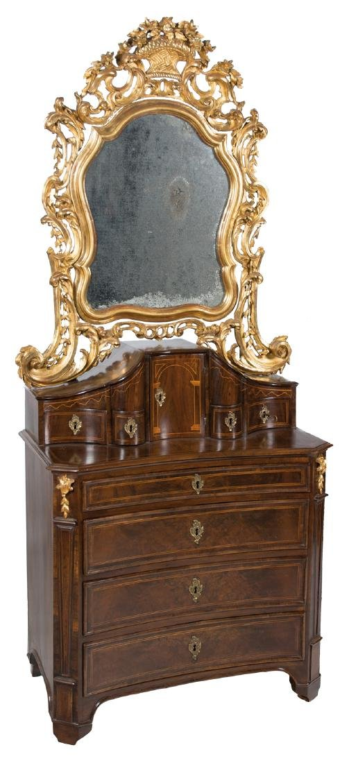 Walnut wood chest of drawers–dressing table with mirror
