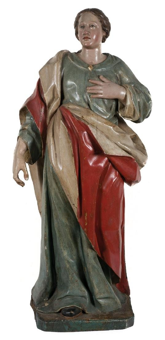 """Saint"". Carved wooden polychromed sculpture. Early 17t"