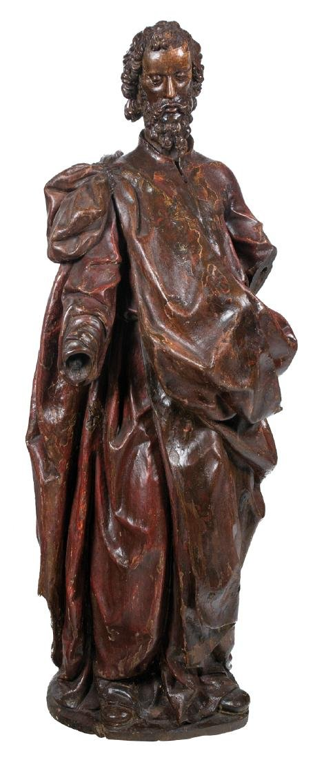 """Saint Peter"" Carved and polychromed wooden sculpture."