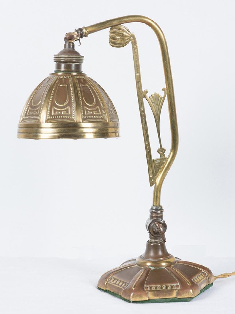 Gilded tin table lamp. France. Art Nouveau. Circa 1910