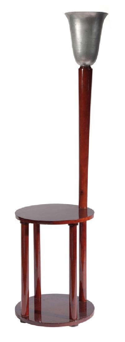 Lamp and side table made of stained beechwood.