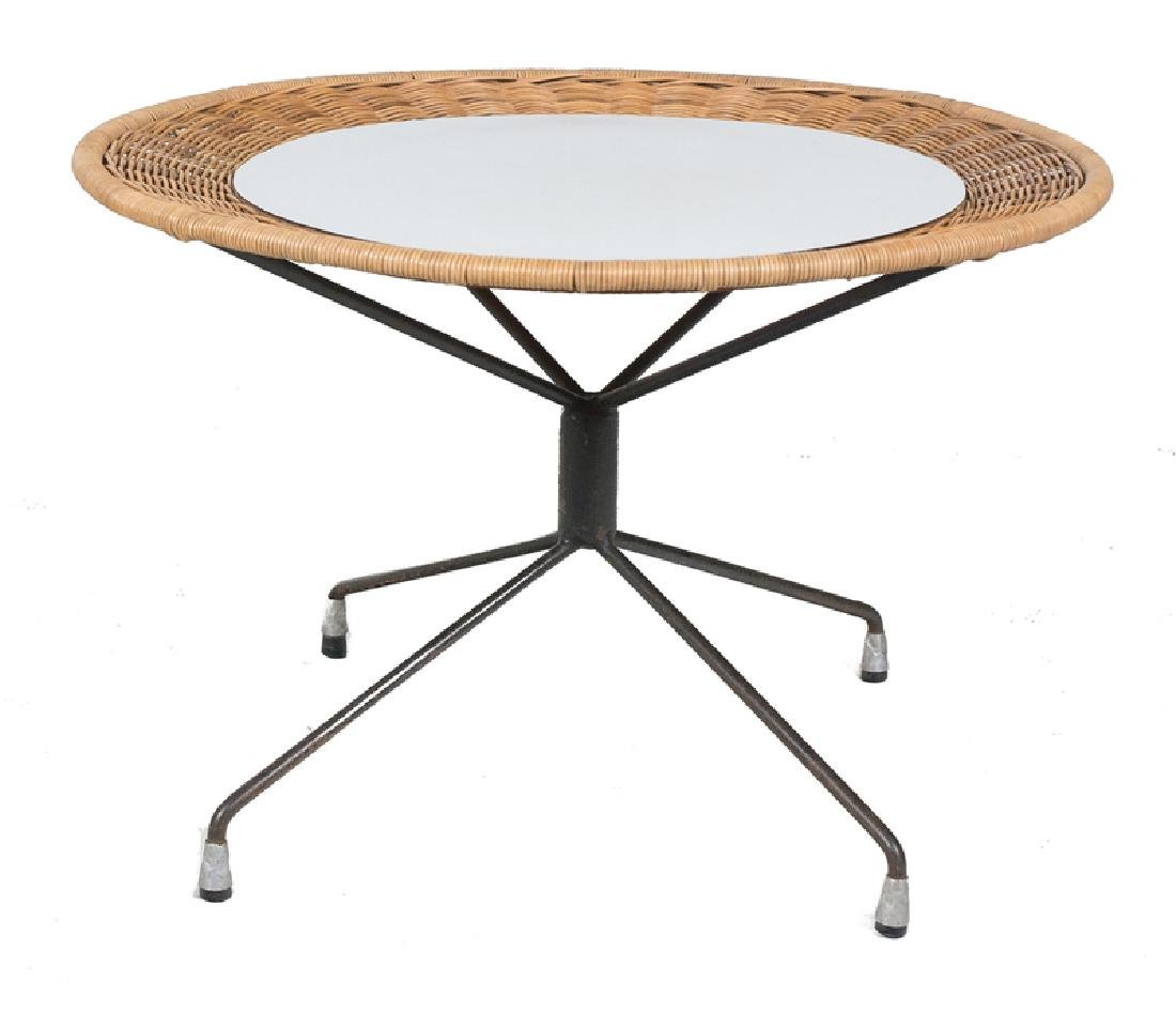 Wicker and formica coffee table with lacquered iron