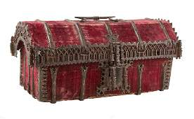 Wrought iron and velvet box with a wooden base.