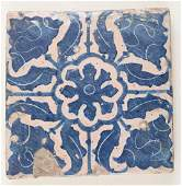 Catalan ceramic tile. Early 16th century. Blue