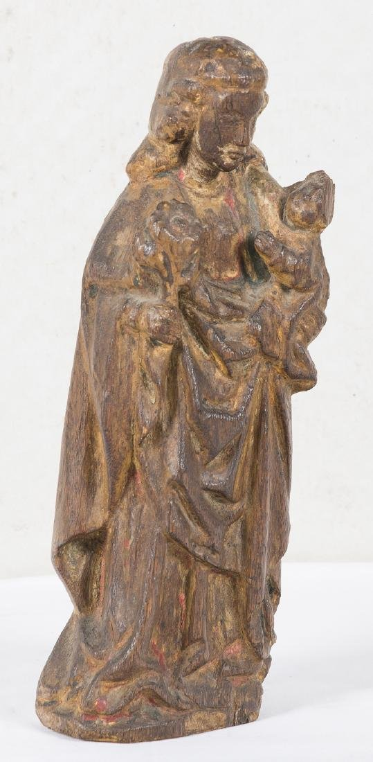 """Madonna and Child"" Carved wooden sculpture with light - 2"