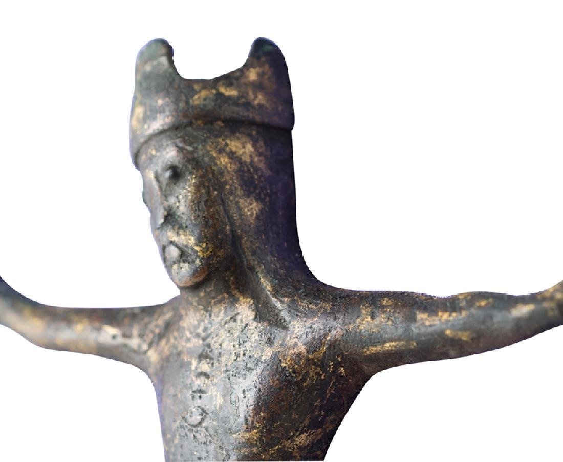 Gilded copper Christ figure with champlevé enamel. - 3