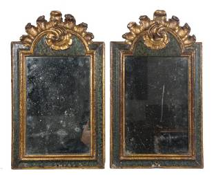 Pair of carved marbled and gilded cornucopias 18th